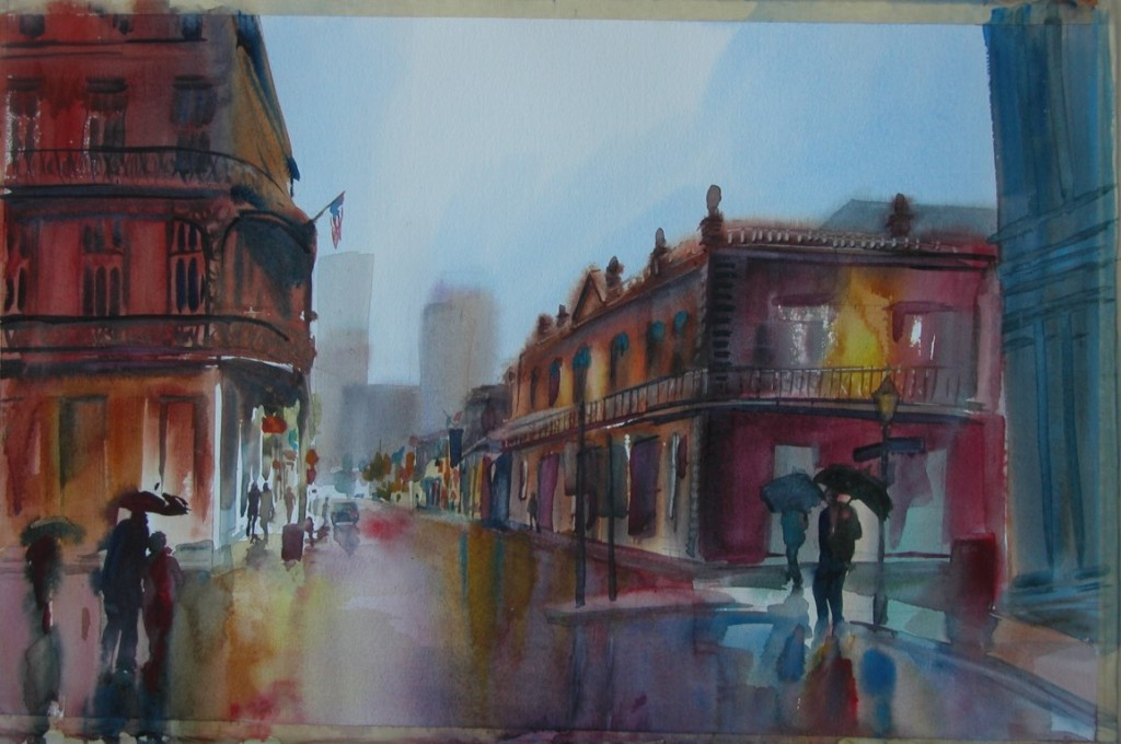 Rainy street, watercolor, 2004, sold (Medium)