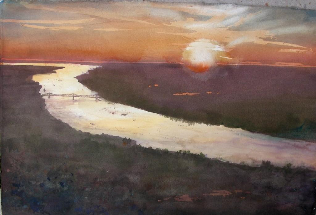 River in Sunset, watercolor,15x23 2004 (Medium)
