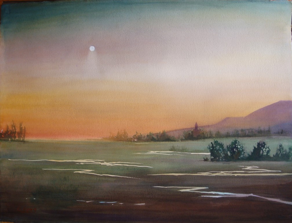 Sunset Watercolor (2) (Medium)