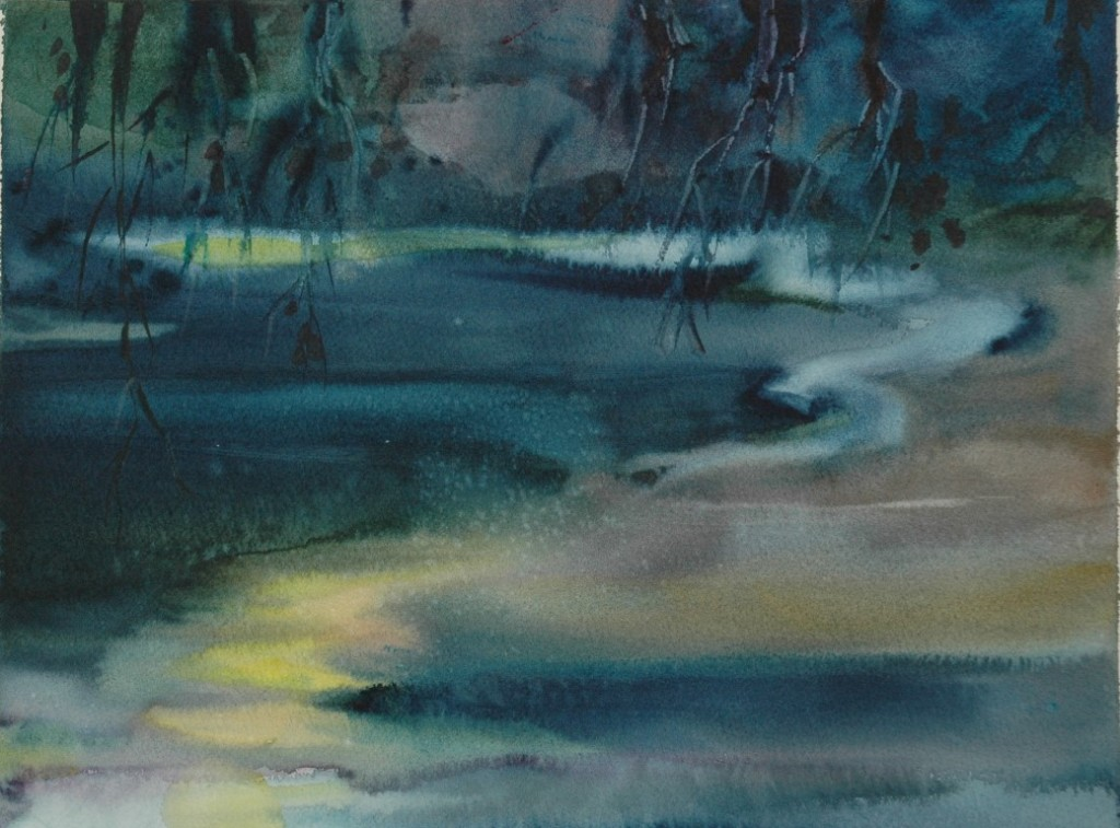 moon lyric , watercolor, 15x22 2005 (Medium)