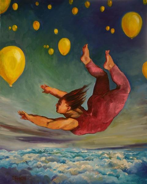 飛天, 100x80cm,油彩麻布, 2016,web